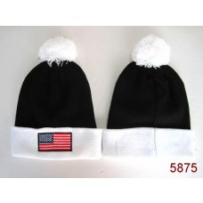 American Flag Knit Hats White Black 006
