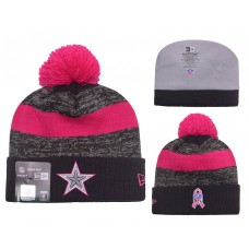 Dallas Cowboys New Era Heather Gray 2016 Breast Cancer Awareness Sideline Cuffed Pom Knit Hat