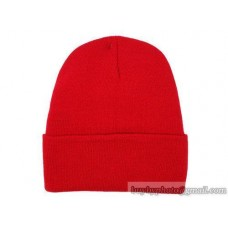 Blank Beanie Knit Hats Caps Red 5