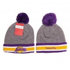 Mitchell and Ness Los Angeles Lakers Knit Beanie Hats 9172