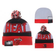NBA Miami Heater Beanies Mitchell And Ness Knit Hats Wine Gray