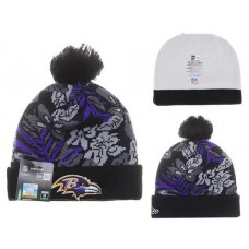 NFL Baltimore Ravens Beanies Mitchell And Ness Knit Hats Plant Leaf Black Purple