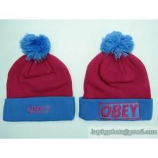 OBEY Beanies Knit Hats Wine/Blue (19)