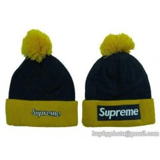 Supreme Beanies Knit Hats Black/Yeloow 137