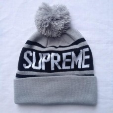 Supreme Ribbed Beanie Knit Hats--grey 0319768